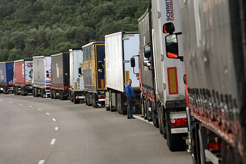 truckers protest spain against diesel Spanish and French truckers on strike, against high diesel prices