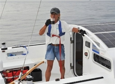 Kenichi Horie Finished Solo-Voyage on His Wind Powered Catamaran