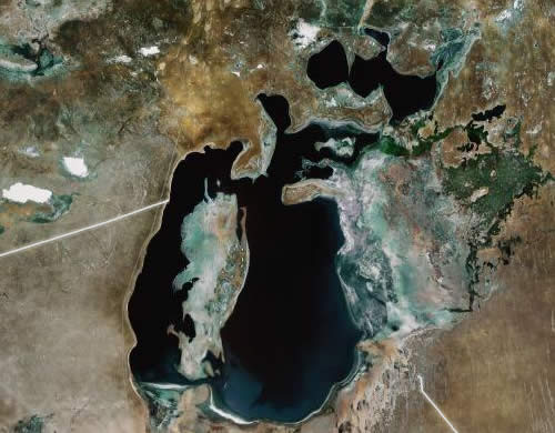 aral sea satellite view Aral Sea Has Partially Healed