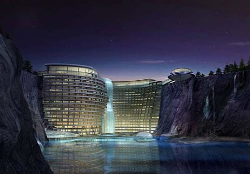 atkins songjiang luxury eco hotel Eco Luxury Songjiang Hotel Built in a Quarry