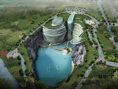 atkins songjiang quarry hotel Eco Luxury Songjiang Hotel Built in a Quarry