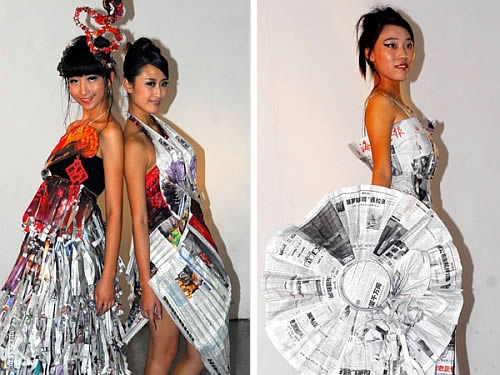 newspaper fashion dresses Recycled Newspaper for Fashion