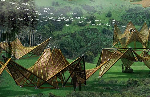 origami inspired foldable bamboo houses by ming tang 1 Origami inspired Foldable Bamboo Houses by Ming Tang