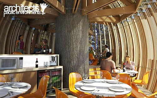 Yellow treehouse restaurant is really up there in the tree