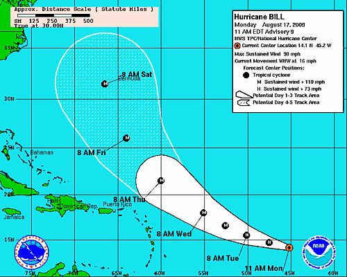 Hurricane Bill Projected Path Hurricane Bill   Projected Path and Updates