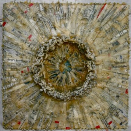 """Buried by the Bank 2,"" Paper and Beeswax, 8 in. x 8 in. (2 1/2"" deep)"