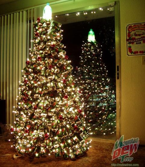 mountain dew tree Christmas Tree Made Out of Recycled Mountain Dew Cans