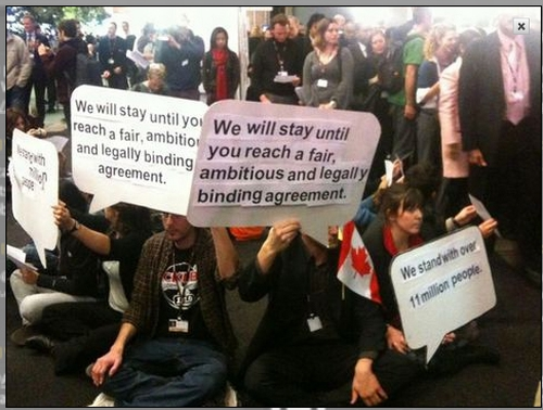 screenshot Youths Start a Sit In at the International Climate Change Negotiations in Copenhagen