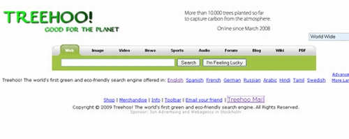 treehoo search mail Worlds First Green Search Engine Now Running Tree Planting E Mail