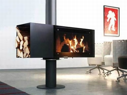 turning fire place TURN Rotating Fireplace Keeps You Warm