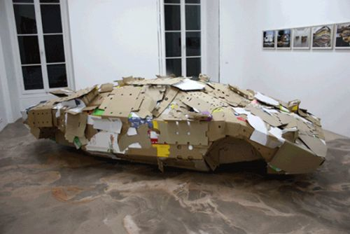lamborghini cardboard sculpture