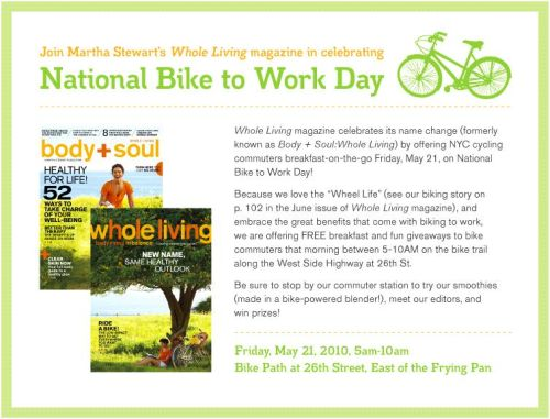 bikeday New Yorkers to celebrate May 21 as Bike to work day for healthy, clean planet