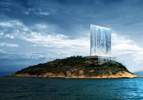 solar ciy tower11 Solar waterfall to make Rio's stunning skyline green