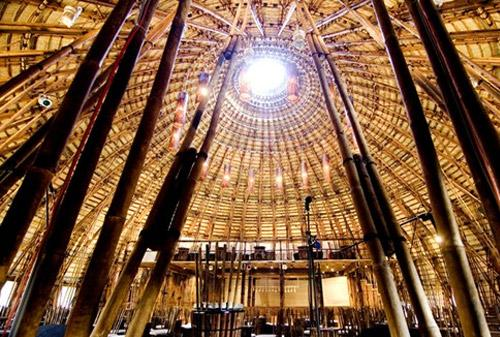 bamboo dome Architectural Marvel with Bamboo; No Nails Used
