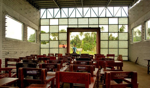 bottle school Discarded Plastic Proves Stronger than Concrete; Eco friendly School Comes Up