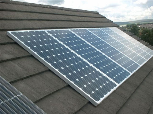 solar cells on a house roof