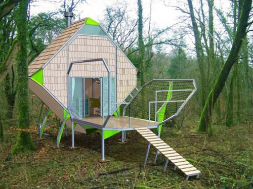 green Matali Crasset Creates Living Pods in French Woods