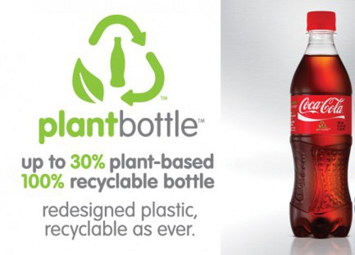 coca cola PlantBottle Coca Cola to Use Plant Based Materials and Recycled Plastic to Make Bottles