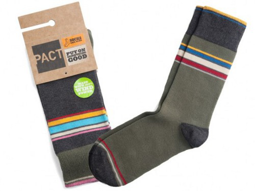 PACT Launches Organic Cotton MenGÇÖs Socks Pact with Nature: Socks Made Using Wind Power