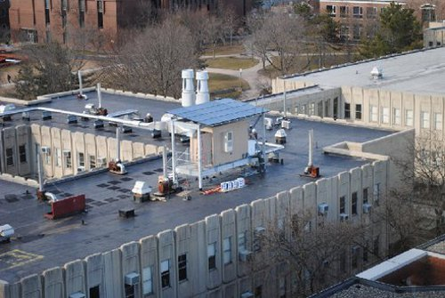 Solar Powered Parasol Solar Array Set Up by Rutgers School of Engineering