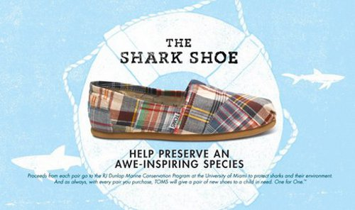 sharkshoe.jpg.492x0 q85 crop smart TOMS Designs Shark Shoes to Help Protect Sharks