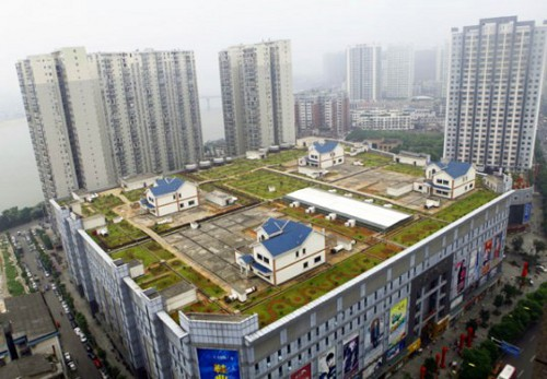 china mall green roof villas 537x373 Roof Top Villas Built Atop Green Roof Shopping Mall in China