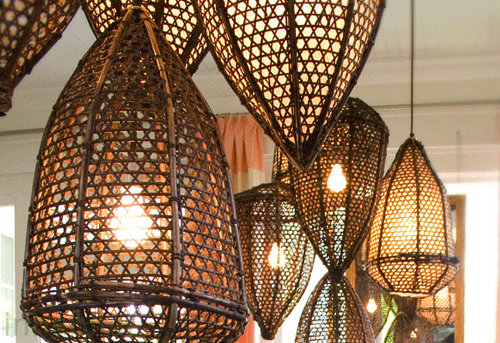 Tucker Robbins Fishing Basket Lamps Old Fishing Baskets turn Beautiful Pendant Lamps